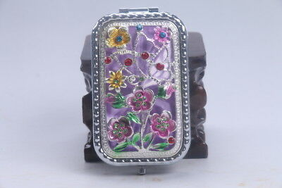 Exquisite handmade hollow out Inlaid diamond purple mirror flower ad695