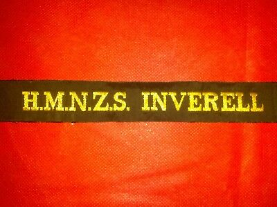 Navy Cap Tally  Ribbon H.M.N.Z.S. INVERELL New Zealand Military N.O.S. Vintage