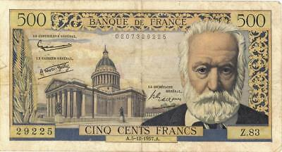 France 500 Francs Currency Banknote 1957