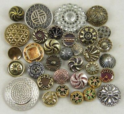 Antique Vintage Buttons Lot ~ Radial, Pinwheel, Pierced, More ~ Mixed Metals