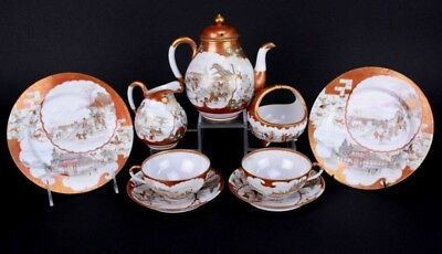 9 Pc Antique Japanese Kutani Satsuma Porcelain Scenic Tea Set Service for 2 SLG