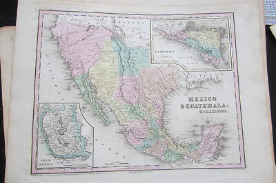 Mexico & Guatemala, NEW UNIVERSAL ATLAS by Henry S. Tanner 1838