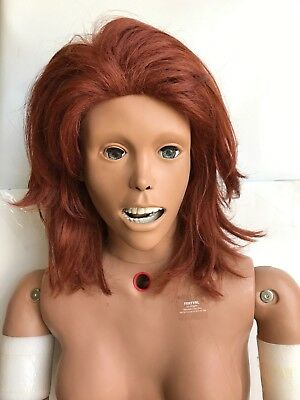 NURSING TRAINER MANIKIN PATIENT DOLL FEMALE LIFESIZE TEACHING MEDICAL Red Head
