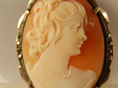CAMEO Lady PIN or PENDANT 800 Silver MARCASITE Carved Shell ANTIQUE Estate