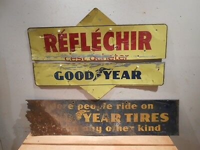 Lot Of 2 Vintage Goodyear Tires Gas & Oil Station Diecut Tin Signs * No Reserve