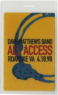 Dave Matthews Band authentic 1998 concert tour Laminated Backstage Pass Roanoke