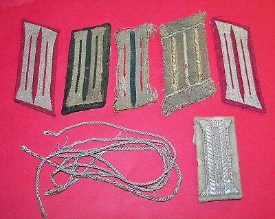 Lot Of Original Ww2 German Collar Tabs & Bullion Border Thread