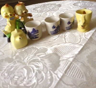 willow pattern egg cups with friends