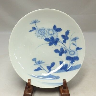 A181: Japanese OLD NABESHIMA blue-and-with porcelain plate with flower painting
