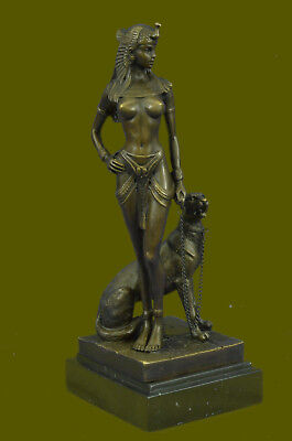 "10.5"" "" Egyptian Queen Nefertiti,Cleopatra Enthroned Panther Bronze Statue Decor"