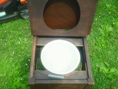 Vintage Wooden Camper Potty Commode Nice Enamel Bowl with Handle Reduced!