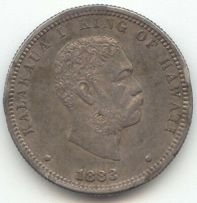 1883 Kingdom of Hawaii Quarter, AU Details, True Auction, No Reserve
