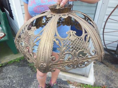 Vintage Slag Glass Victorian Brass Shade Hanging Ceiling Lamp Hung Fixture