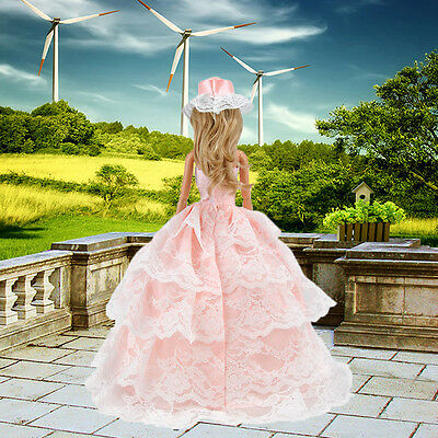 Princess Evening Party Dress Clothes Gown Outfit Hat for Barbie Doll Girls Gift