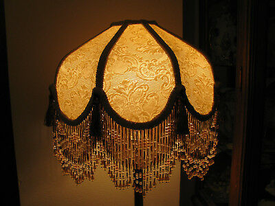 "Victorian French Med Lamp Shade  ""Creame"" Tassels 6"" Bead Fringe Look!"