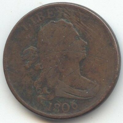 1806 Draped Bust Half Cent, Stemless, Fine Details, True Auction, No Reserve