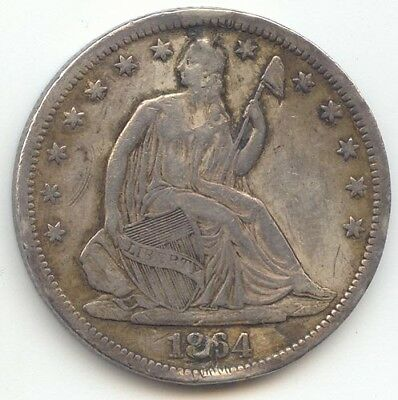 1864-S Seated Liberty Half Dollar, XF Details, True Auction, No Reserve