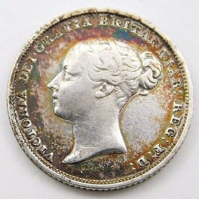 1855 Great Britain 6 pence silver coin Victoria foreign NR (0102)