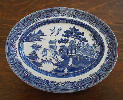 "Large Blue Willow Oval Platter   15 1/2""  X 12""   Johnson Bros. England"