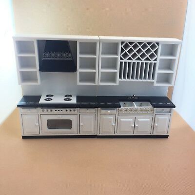 1/12 scale dolls house miniature  black&white modern style kitchen set 2 pcs