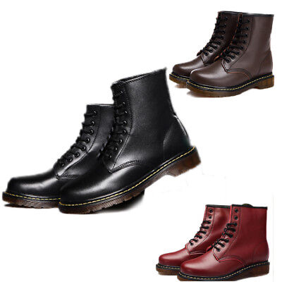 Men Leather Lace Up Punk Shoes Military Combat Motorcycle Rock Martin Boots