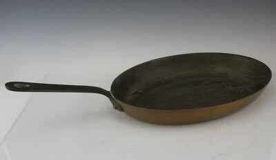 Antique France French Copper & Brass Handled Kitchen Oval Saute Fry Pan Skillet