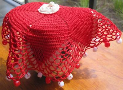 Vintage Beaded Hand Crochet/Filet JUG COVER in Red 'Never Used'