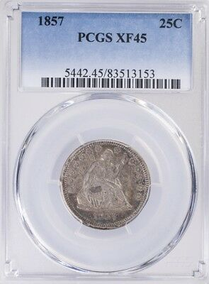 1857 Seated Liberty Quarter PCGS XF45