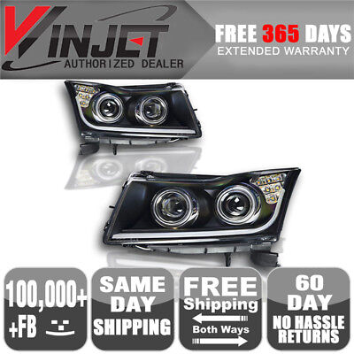Fits 11-14 Chevy Cruze Dual Projector LED Signal DRL Black Headlights Lamp Pair