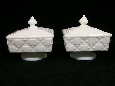 Westmoreland (?) Old Quilt Milk Glass Low Profile Footed Compote Dishes w/Lids
