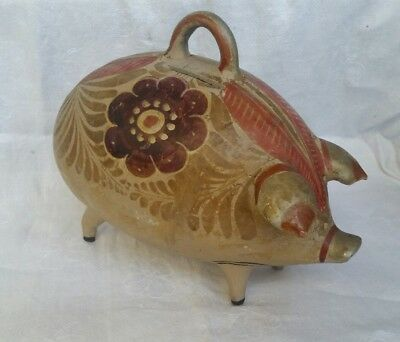 Vintage Pig Pottery Painted Retro 1946 Collectable Artist Signed Piggy Bank