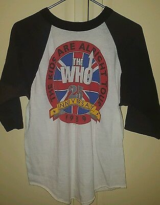 VINTAGE '89 The WHO 25th Anniv. THE KIDS ARE ALRIGHT Tour 3/4 length Sleeves XL