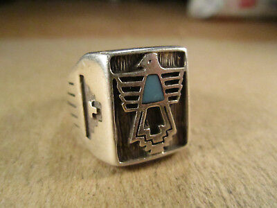 Sterling Silver & Turquoise Thunderbird Ring, Carolyn Pollack, Size ~10, 13g