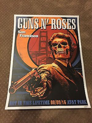 guns n roses san francisco litho poster #'d to 300 gnr rare 8/9/16 AT&T Stadium