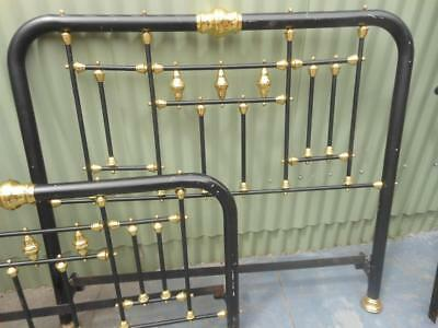 Antique Style Brass & Iron Double bed~Black & gold fittings + railings~Oakleigh