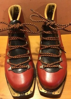 Rare Vintage Women's Red & Black Ski Elite Sohle Continental Ski Boots 38/7-7.5