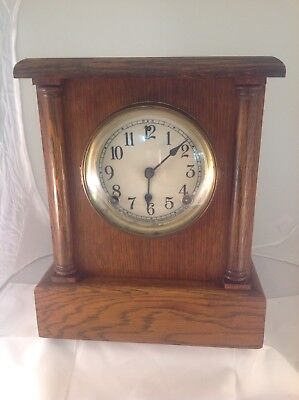 Sessions Oak Cased Mantle Clock Excellent Working Order With Key And Pendulum