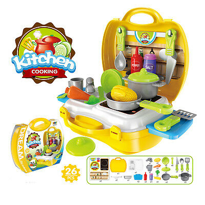 26 Pieces Kitchen Pretend Play Sets Gift for Kids Todders Boys and Girls