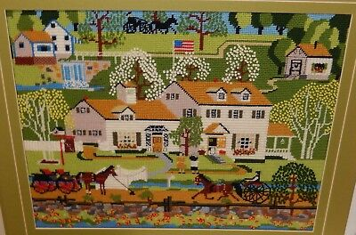 American Street Scene Wall Tapestry Unsigned Dated 1980