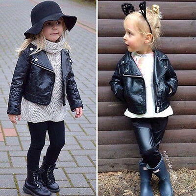 Kids Girls Motorcycle PU Leather Jacket Biker Coat Overcoat Black Winter Autumn