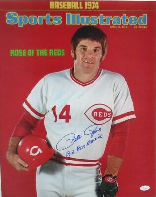 """Pete Rose Signed Reds 16x20 Photo SI Cover """"Big Red Machine"""" Inscr. JSA ITP"""