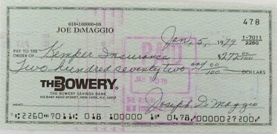 Joe Dimaggio Signed (full signature) Bank Check # 478 JSA Auction House LOA