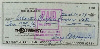 Joe Dimaggio Signed (full signature) Bank Check # 498 JSA Auction House LOA