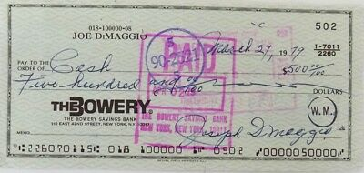 Joe Dimaggio Signed (full signature) Bank Check # 502 JSA Auction House LOA