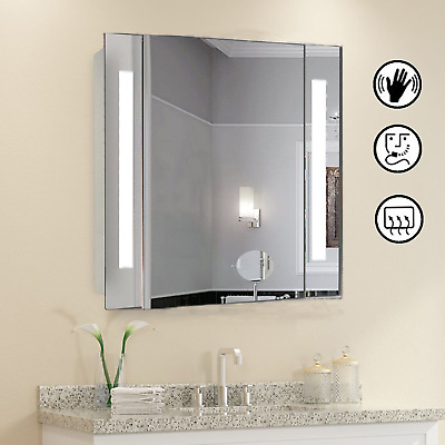 LED Light Strip Illuminated Bathroom Cabinet Mirror - Sensor Demister & Shaver