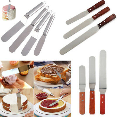 Stainless Steel Butter Cake Cream Knife Spatula Wooden Handle Baking Tools Mould