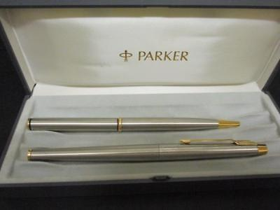 Vintage Parker Boxed Silver & Gold Pen Set Fountain And Ballpoint Pen