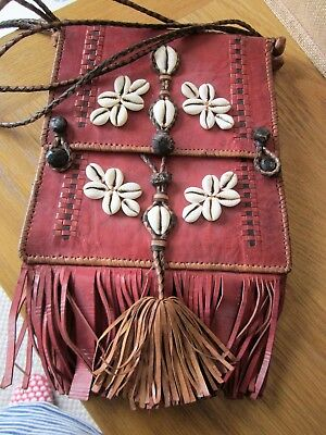Antique Vintage Leather Cowrie Shell Native Handbag South Sea Islands Rare Find
