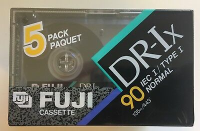 FUJI DR-Ix 90 TYPE I BLANK AUDIO CASSETTE TAPE 5 Pack