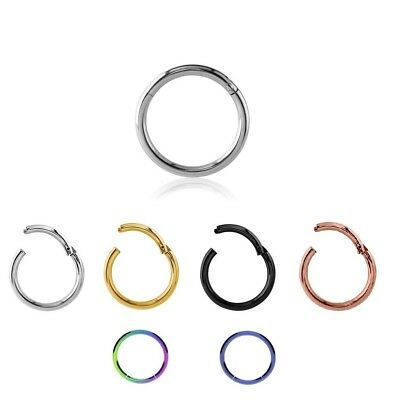 Septum Clicker Nose Ear Tragus HINGED SEGMENT RING Various Sizes & Colours